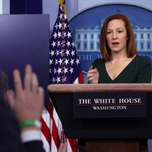 Jen Psaki Holds A White House Press Briefing As Supply Chain Woes Persist
